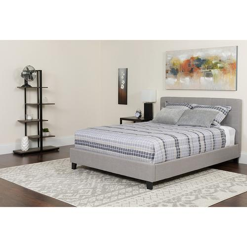 Chelsea King Size Upholstered Platform Bed in Light Gray Fabric with Pocket Spring Mattress