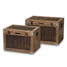 See Details - Baxton Studio Clement Rustic Transitional Medium Oak Finished 2-Piece Wood Spindle Storage Trunk Set