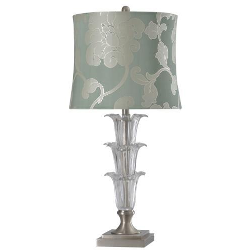 Product Image - L313015  Cornella Crystal Glass & Brushed Steel Base Table with Designer Fabric Softback Shade