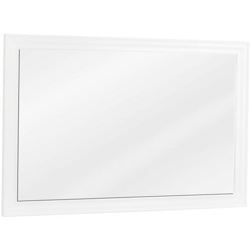 "42"" x 28"" Beveled glass mirror with White finish."