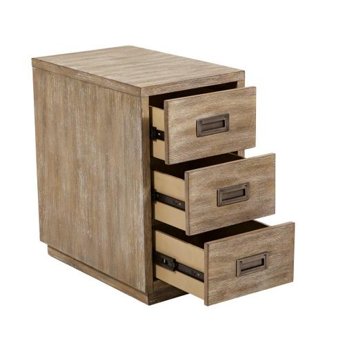 Industrial Styled Acacia Wood Three Drawer Side Table