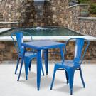 "Commercial Grade 23.75"" Square Blue Metal Indoor-Outdoor Table Set with 2 Stack Chairs Product Image"