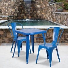 "Commercial Grade 23.75"" Square Blue Metal Indoor-Outdoor Table Set with 2 Stack Chairs"