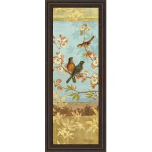 """Robins & Blooms Panel"" By Pamela Gladding Framed Print Wall Art"