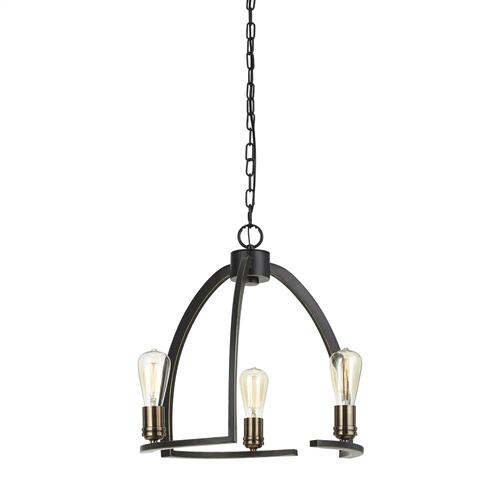 60W X 3 Kinder Metal 3 Light Chandelier (Edison Bulbs Not included)