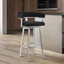 """Lorin 26"""" Black Faux Leather and Brushed Stainless Steel Swivel Bar Stool"""