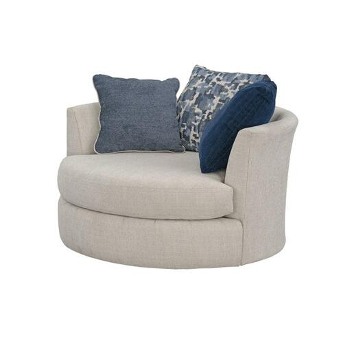 Romano Upholstered Swivel Chair, Flax