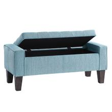 See Details - Baytown Storage Bench In Blue Smoke Fabric With Grey Washed Leg Finish