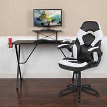 Black Gaming Desk and White/Black Racing Chair Set with Cup Holder, Headphone Hook, and Monitor/Smartphone Stand