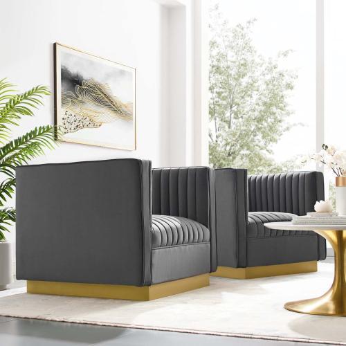 Sanguine Vertical Channel Tufted Upholstered Performance Velvet Armchair Set of 2 in Gray