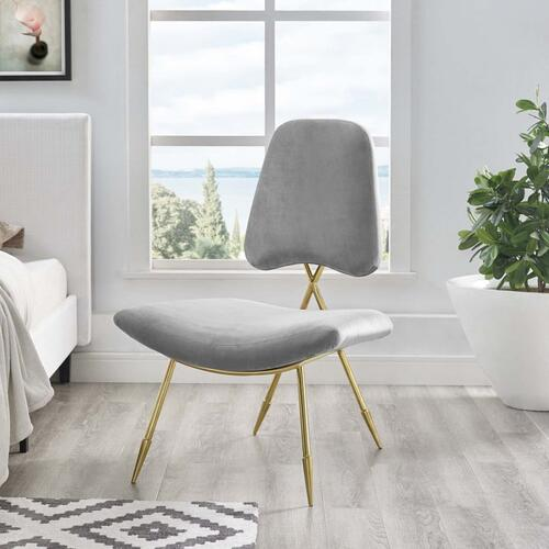 Ponder Performance Velvet Lounge Chair in Gray