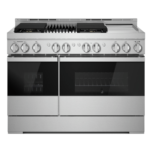 """48"""" NOIR™ Gas Professional-Style Range with Chrome-Infused Griddle and Infrared Grill"""