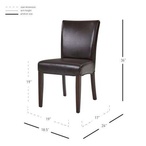 Beverly Hills Bonded Leather Dining Side Chair, Coffee Bean
