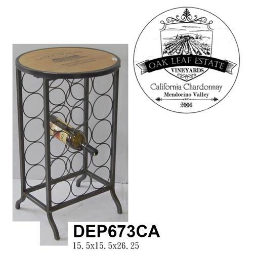 Product Image - Wood and Metal Wine Rack