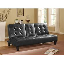 7502 BLACK Faux Leather Futon Sofa Bed