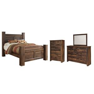 Ashley - Queen Poster Bed With Mirrored Dresser and Chest