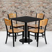 Product Image - 30'' Square Black Laminate Table Set with 4 Wood Slat Back Metal Chairs - Natural Wood Seat