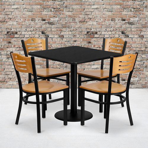 Flash Furniture - 30'' Square Black Laminate Table Set with 4 Wood Slat Back Metal Chairs - Natural Wood Seat