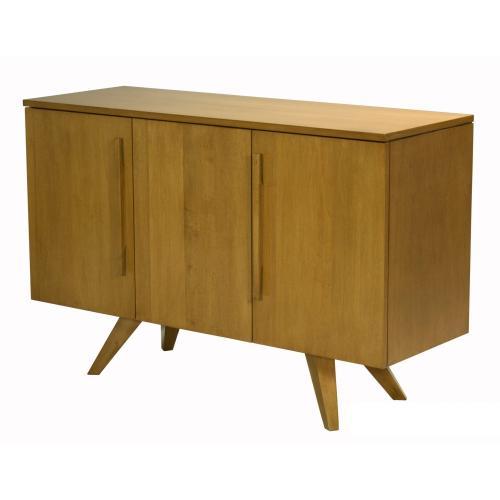 48 Inch 3 Door Buffet, Plane Sliced Maple Veneer Top, Long Wood Handle, Splayed Foot 1 Fixed Half Shelf