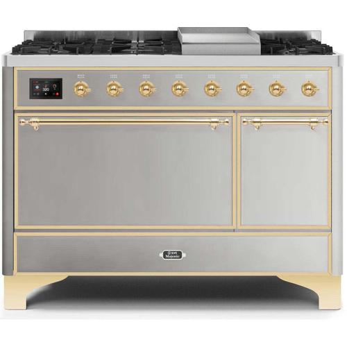 Gallery - Majestic II 48 Inch Dual Fuel Natural Gas Freestanding Range in Stainless Steel with Brass Trim