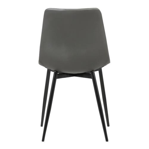 Armen Living Monte Contemporary Dining Chair in Gray Faux Leather with Black Powder Coated Metal Legs