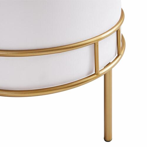Lorient Velvet Fabric Tufted Round Ottoman, Serene Light Cream/ Gold