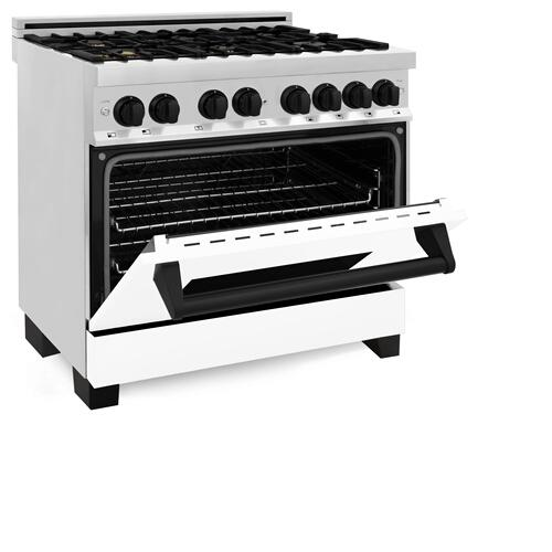 """Zline Kitchen and Bath - ZLINE Autograph Edition 36"""" 4.6 cu. ft. Dual Fuel Range with Gas Stove and Electric Oven in Stainless Steel with White Matte Door and Accents (RAZ-WM-36) [Color: Matte Black]"""