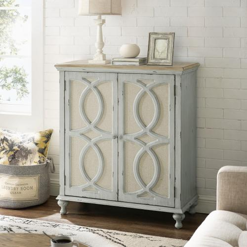 Wood and Fabric Two Door Accent Chest in Weathered Gray