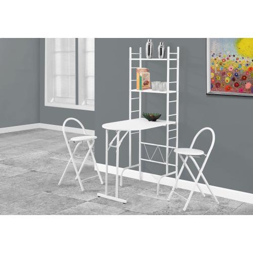 Gallery - DINING SET - 3PCS SET / WHITE TOP / WHITE METAL