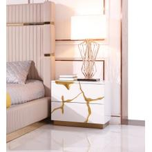 Modrest Aspen Modern White & Gold Nightstand