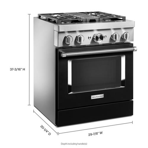 KitchenAid® 30'' Smart Commercial-Style Dual Fuel Range with 4 Burners - Imperial Black