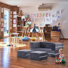 Critter Sitters Modular Microfiber Sofa for Children's Playroom, Grey, CSCHLDSOFA-GRY