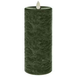 Green LED Textured Wax Pillar Candle