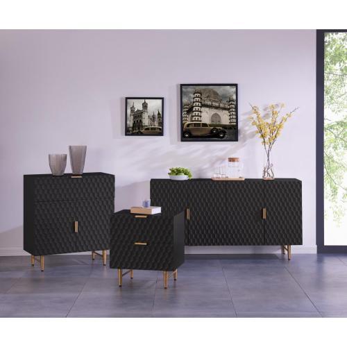 Reggie KD Geometric Sideboard 4 Doors Gold Legs, Glossy Black