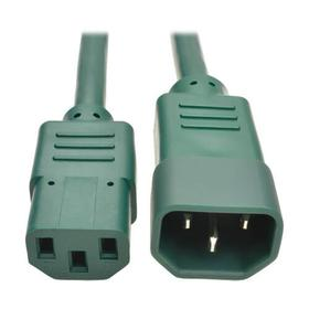 Heavy Duty PDU Power Cord, C13 to C14 - 15A, 250V, 14 AWG, 2 ft., Green