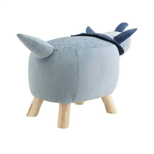 Upholstered Fabric Stool No Storage, Blue and Natural