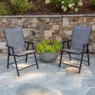 Black Outdoor Folding Patio Sling Chair (2 Pack) Product Image
