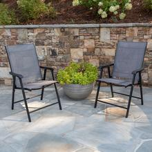 Product Image - Black Outdoor Folding Patio Sling Chair (2 Pack)