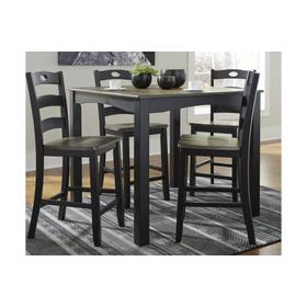 Froshburg Counter Height Table & 4 Chairs Grayish Brown/Black