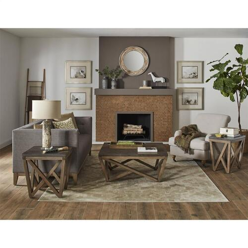 Hawkins - Rectangular Chairside Table - Antique Oak/bluestone Finish