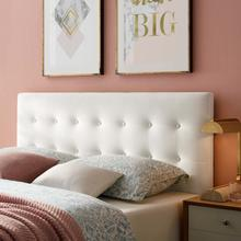 View Product - Emily King Biscuit Tufted Performance Velvet Headboard in White