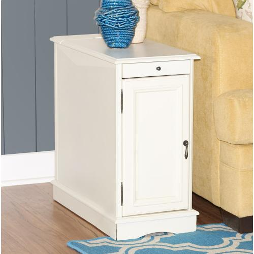 1-door With Usb and Electrical Charging Station Accent Table, White
