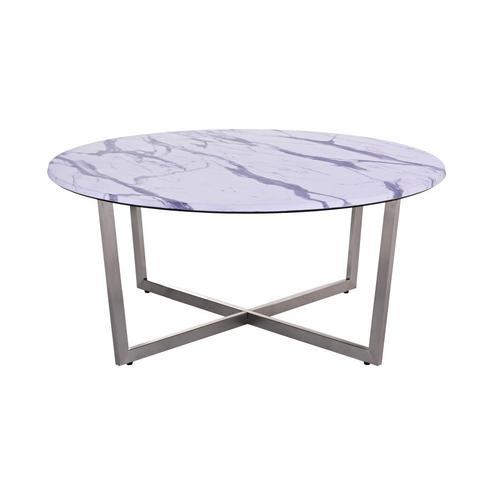 Porter International Designs - Pompei Round Marble-Look Coffee Table, 1881