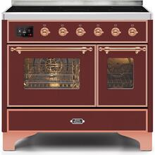 Majestic II 40 Inch Electric Freestanding Range in Burgundy with Copper Trim