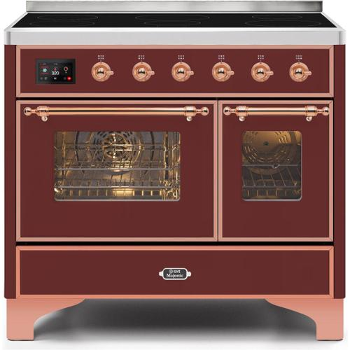 Ilve - Majestic II 40 Inch Electric Freestanding Range in Burgundy with Copper Trim
