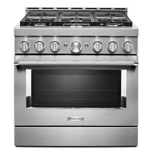 KitchenAid® 36'' Smart Commercial-Style Gas Range with 6 Burners - Heritage Stainless Steel Product Image