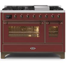 Majestic II 48 Inch Dual Fuel Natural Gas Freestanding Range in Burgundy with Bronze Trim