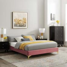 Sutton Twin Performance Velvet Bed Frame in Dusty Rose