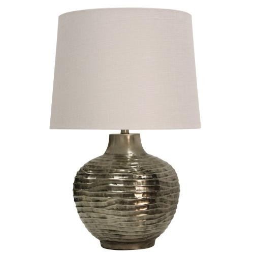 Wave Design Embossed in Aged Silver Metal Base Table Lamp Crafted in India with Hardback Shade