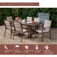 Mod Atlas 7-Piece Outdoor Dining Set with 6 Padded Contoured-Sling Chairs and a 74-In. x 40-In. Trestle Table, Tan, ATLASDN7PC-TAN